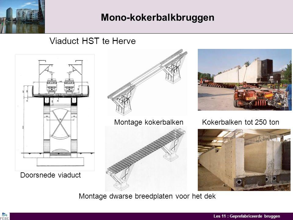 Les 11 : Geprefabriceerde bruggen Mono-kokerbalkbruggen Kokerbalk met gestut of uitkragend dek De uitkragende dekplaat wordt gesteund door geprefabric