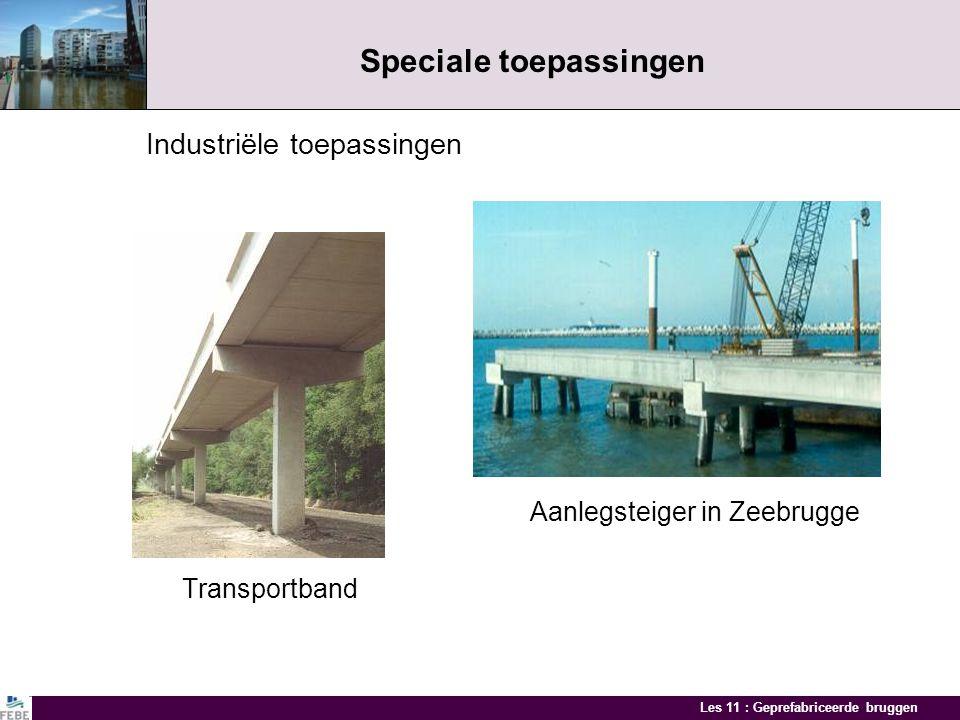 Les 11 : Geprefabriceerde bruggen Speciale toepassingen Kanaalbrug Voorbeeld van een kanaalbrug in Houdeng-Aimeries met geprefabriceerde liggers met n