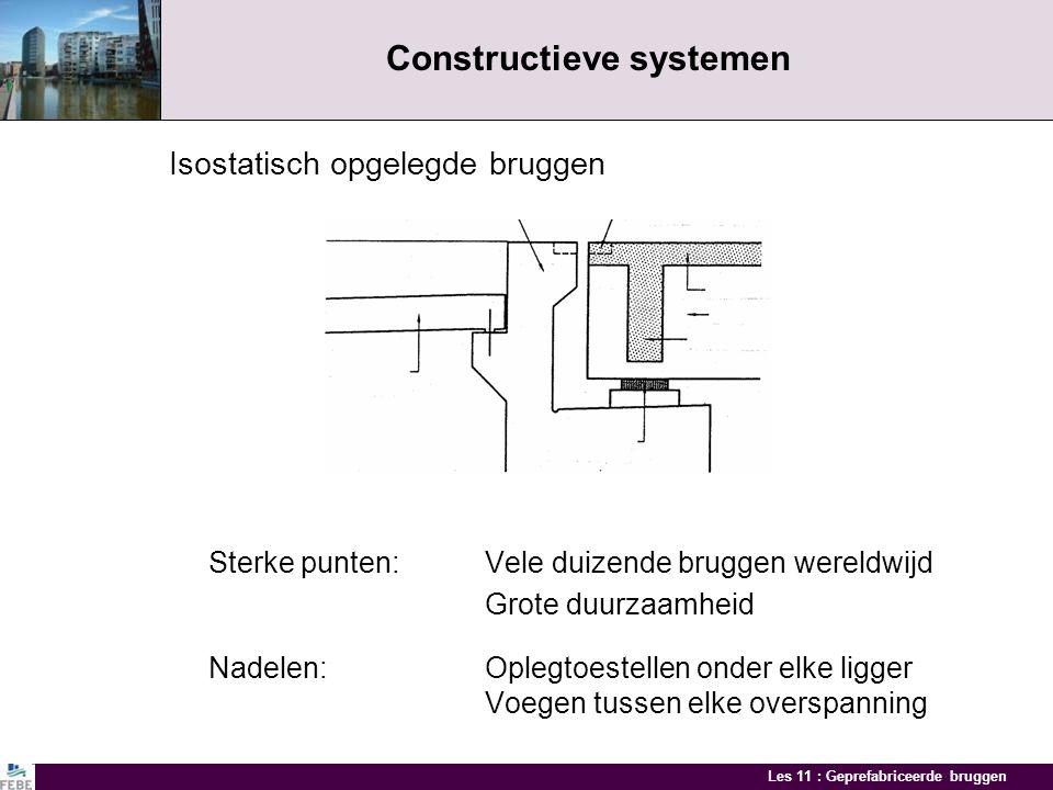 Les 11 : Geprefabriceerde bruggen Ontwerp Constructieve systemen Ontwerp brugbalken Dwarsverdeling belastingen