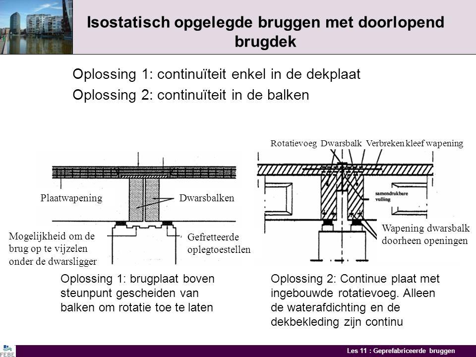 Les 11 : Geprefabriceerde bruggen Constructieve systemen Isostatisch opgelegde bruggen Sterke punten: Vele duizende bruggen wereldwijd Grote duurzaamh