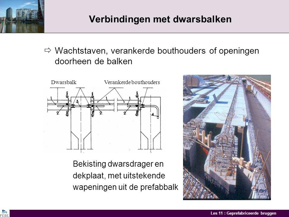 Les 11 : Geprefabriceerde bruggen Verbindingen Prefabbalk - dwarsbalk Verbindingen aan de oplegging Balk - dek verbindingen Verbindingen met randprofi