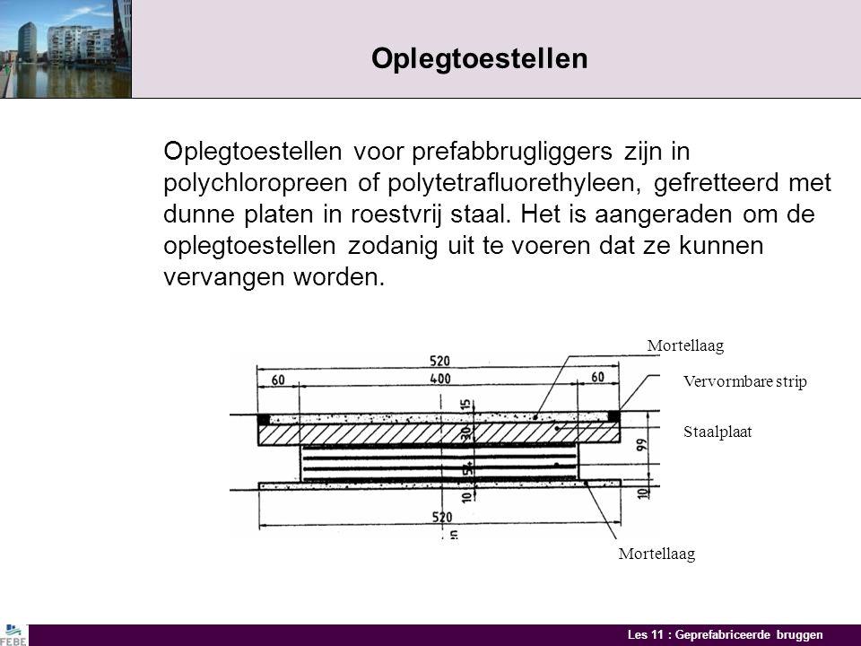 Les 11 : Geprefabriceerde bruggen Oplegverbindingen Positie oplegtoestellen Ingesneden balkuiteinden Recht balkuiteinde Horizontale steun nodig wannee