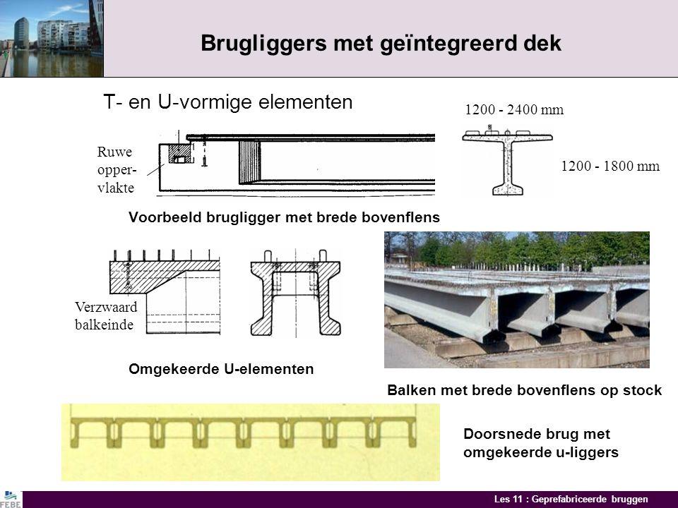 Les 11 : Geprefabriceerde bruggen Trogbruggen Composiete U-elementen met stalen liggers in de ribben Zware preflex staalbalk U-elementen: overspanning 20 - 25 m hoogte 1,30 m breedte 4,00 m gewicht tot 160 ton Viaduct HST in Drogenbos Voorspanstrengen Staalbalk