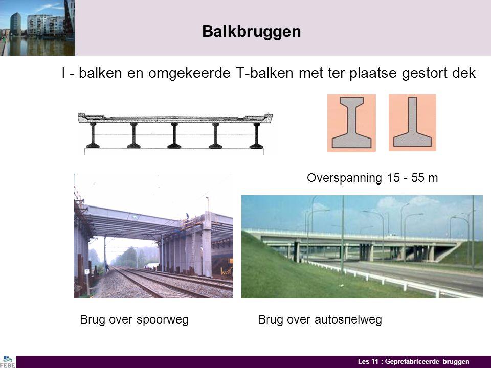 Les 11 : Geprefabriceerde bruggen Balkbruggen I - balken en omgekeerde T-balken met ter plaatse gestort dek Overspanning 15 - 55 m Brug over spoorwegBrug over autosnelweg