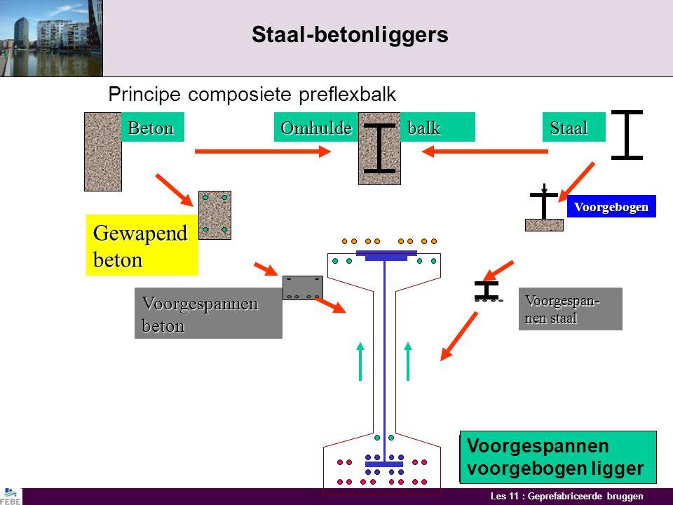 Les 11 : Geprefabriceerde bruggen Balkbruggen I - balken en omgekeerde T-balken met ter plaatse gestort dek Overspanning 15 - 55 m Brug over spoorwegB