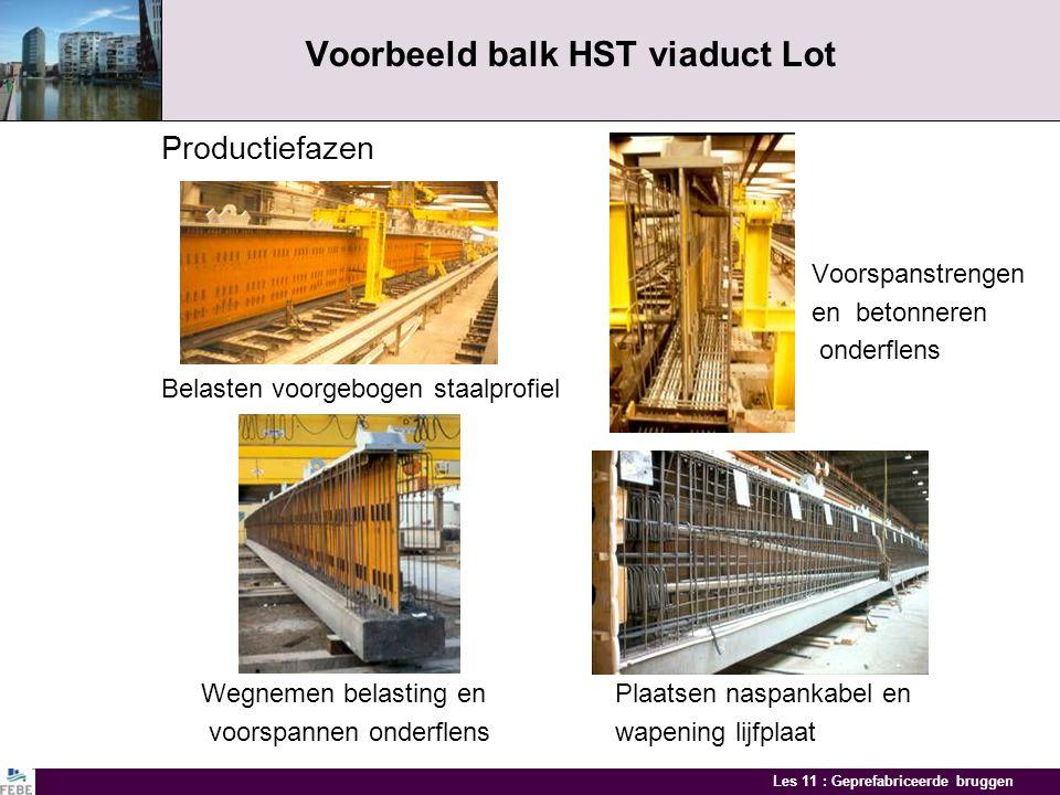 Les 11 : Geprefabriceerde bruggen Voorbeeld balk HST viaduct Lot Productiefazen Voorspanstrengen en betonneren onderflens Belasten voorgebogen staalprofiel Wegnemen belasting en Plaatsen naspankabel en voorspannen onderflens wapening lijfplaat