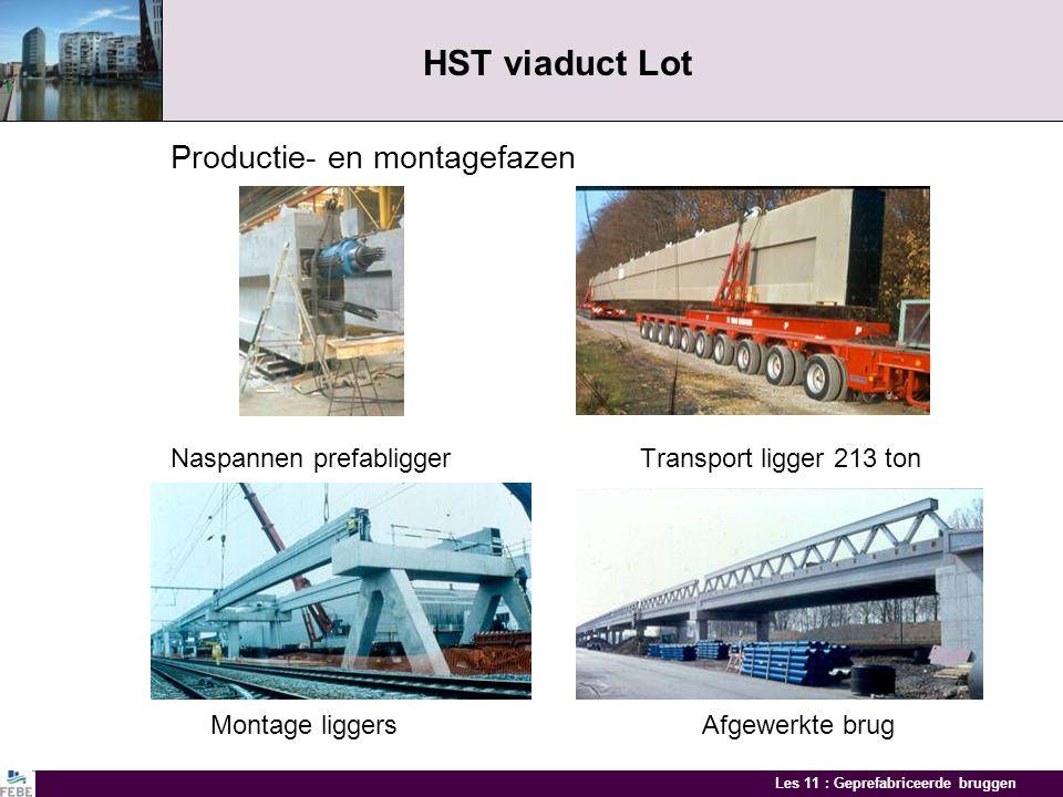 Les 11 : Geprefabriceerde bruggen HST viaduct Lot Productie- en montagefazen Naspannen prefabligger Transport ligger 213 ton Montage liggersAfgewerkte brug