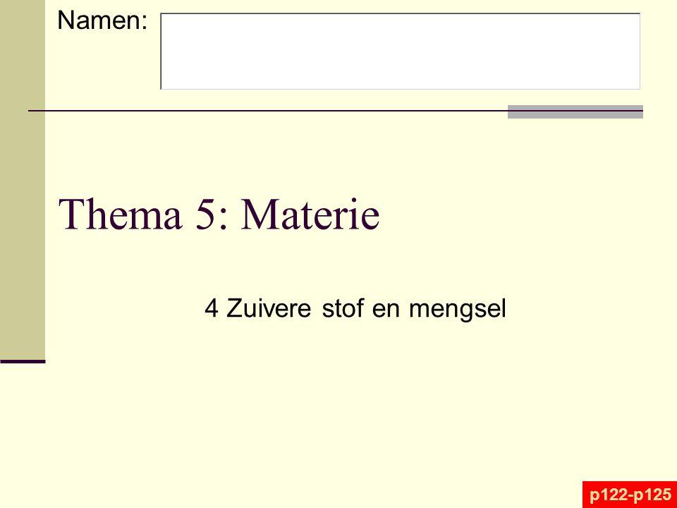 Thema 5: Materie 4 Zuivere stof en mengsel p122-p125 Namen: