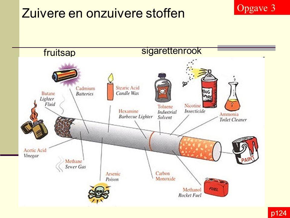 p124 Zuivere en onzuivere stoffen Opgave 3 fruitsap sigarettenrook