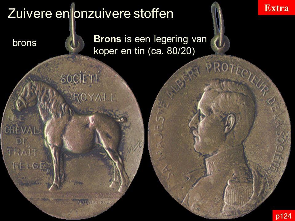 p124 Zuivere en onzuivere stoffen brons Brons is een legering van koper en tin (ca. 80/20) Extra