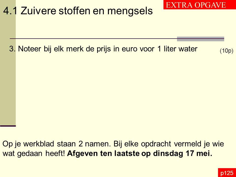 p125 4.1 Zuivere stoffen en mengsels EXTRA OPGAVE 3.Noteer bij elk merk de prijs in euro voor 1 liter water (10p) Op je werkblad staan 2 namen. Bij el