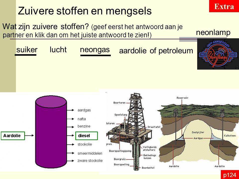 p124 Samenstelling van mengsels Opgave fijne vastestofdeeltjes in een gas Rook is een mengsel van Suspensie is een mengsel van een vloeistof en kleine onoplosbare vaste stofdeeltjes die blijven zweven in deze stof roet in de lucht = schouwrook, sigarettenrook Voorbeeld: cellen in een waterig mileu Emulsie is een mengsel van 2 niet in elkaar oplosbare vloeistoffen Voorbeeld: Vinaigrettesaus = olie in azijn
