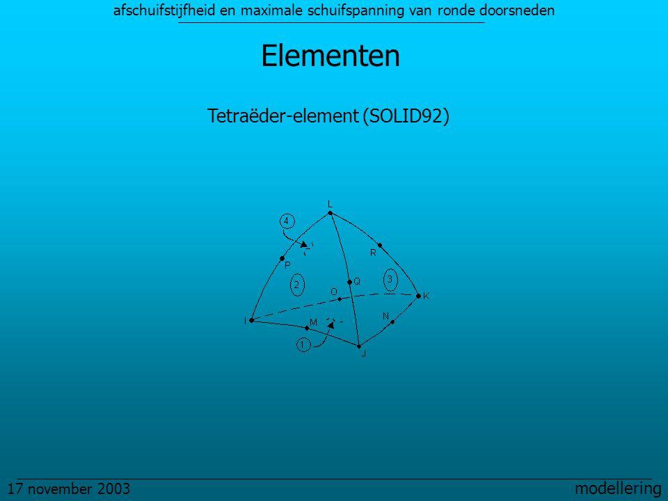 afschuifstijfheid en maximale schuifspanning van ronde doorsneden 17 november 2003 modellering Elementen Tetraëder-element (SOLID92)