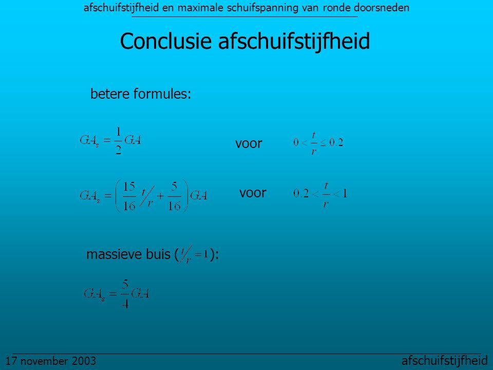 afschuifstijfheid en maximale schuifspanning van ronde doorsneden 17 november 2003 afschuifstijfheid Conclusie afschuifstijfheid betere formules: voor massieve buis ( ):