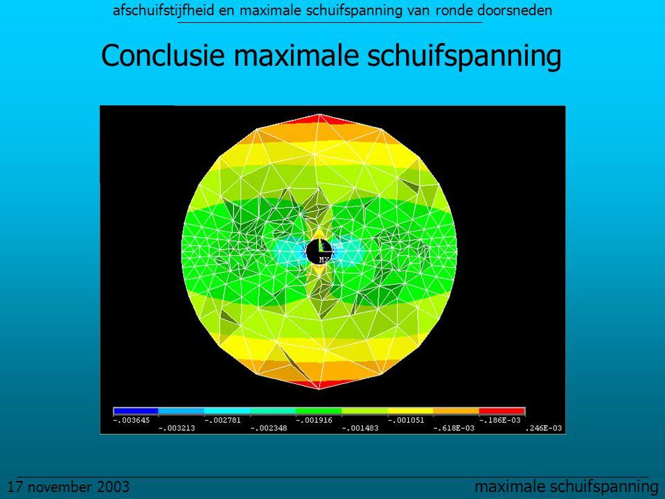 afschuifstijfheid en maximale schuifspanning van ronde doorsneden 17 november 2003 maximale schuifspanning Conclusie maximale schuifspanning