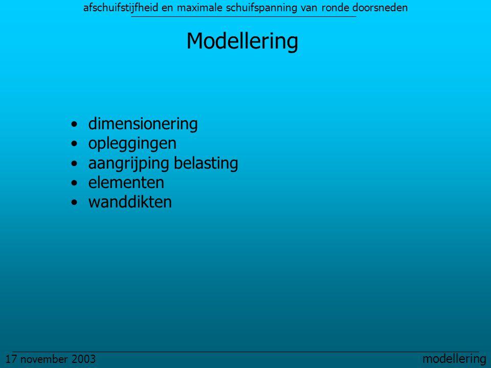 afschuifstijfheid en maximale schuifspanning van ronde doorsneden 17 november 2003 modellering Modellering dimensionering opleggingen aangrijping belasting elementen wanddikten