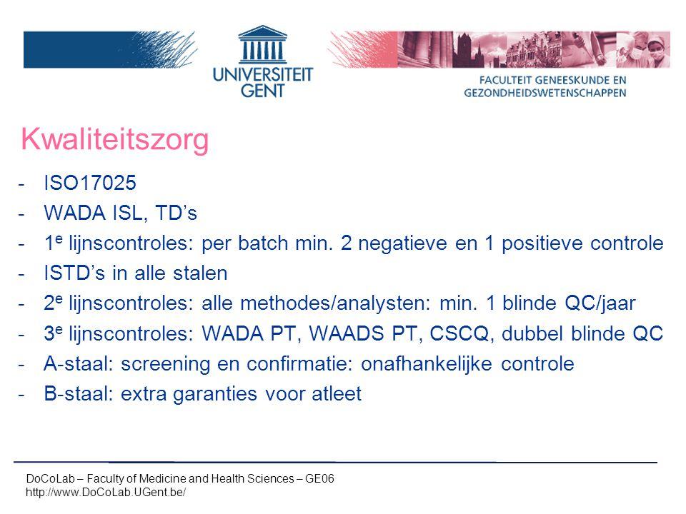 Kwaliteitszorg -ISO17025 -WADA ISL, TD's -1 e lijnscontroles: per batch min. 2 negatieve en 1 positieve controle -ISTD's in alle stalen -2 e lijnscont