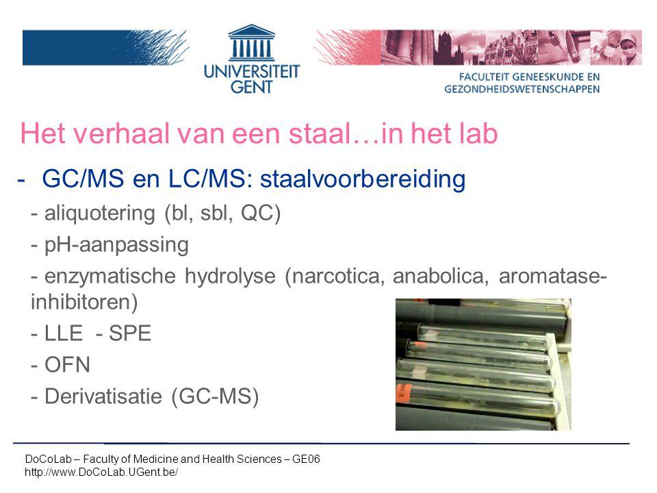 Het verhaal van een staal…in het lab -GC/MS en LC/MS: staalvoorbereiding -aliquotering (bl, sbl, QC) -pH-aanpassing -enzymatische hydrolyse (narcotica