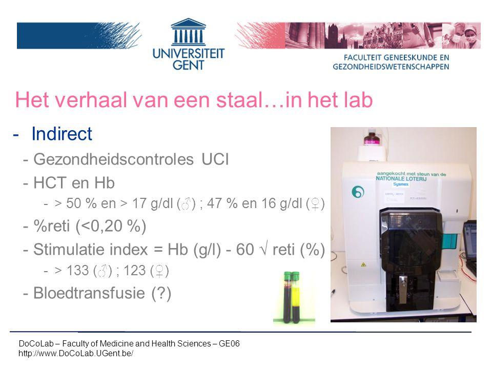 Het verhaal van een staal…in het lab -Indirect -Gezondheidscontroles UCI -HCT en Hb -> 50 % en > 17 g/dl (♂) ; 47 % en 16 g/dl (♀) -%reti (<0,20 %) -S
