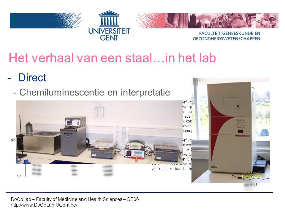 Het verhaal van een staal…in het lab -Direct -Chemiluminescentie en interpretatie DoCoLab – Faculty of Medicine and Health Sciences – GE06 http://www.
