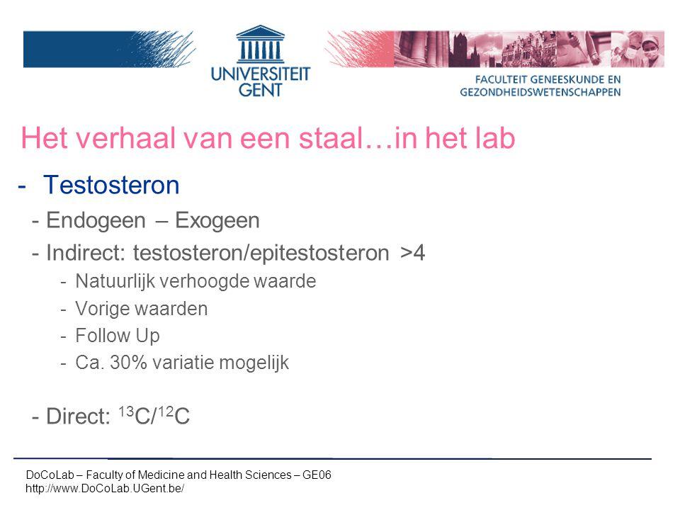 Het verhaal van een staal…in het lab -Testosteron -Endogeen – Exogeen -Indirect: testosteron/epitestosteron >4 -Natuurlijk verhoogde waarde -Vorige wa