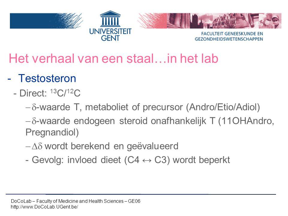 Het verhaal van een staal…in het lab -Testosteron -Direct: 13 C/ 12 C  -waarde T, metaboliet of precursor (Andro/Etio/Adiol)  -waarde endogeen ste