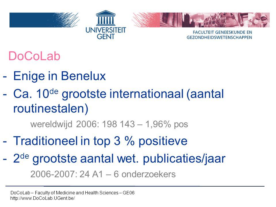 DoCoLab -Enige in Benelux -Ca. 10 de grootste internationaal (aantal routinestalen) wereldwijd 2006: 198 143 – 1,96% pos -Traditioneel in top 3 % posi