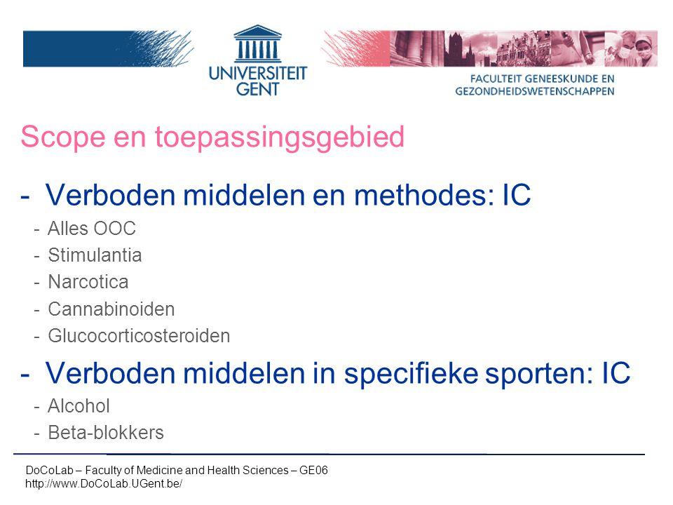 Het verhaal van een staal…in het lab -Homologe bloedtransfusie -Bloedtoediening: ABO-systeem, rh(D) -Bijkomende antigenen (C; c; E; e; K1 (Kell); K2(Cellano); Fy a, Fy b, Jk a, JK b, S en s) via flow cytometrie (concentraties) DoCoLab – Faculty of Medicine and Health Sciences – GE06 http://www.DoCoLab.UGent.be/ 100% negatief 100% positief mengpopulatie 1% pos