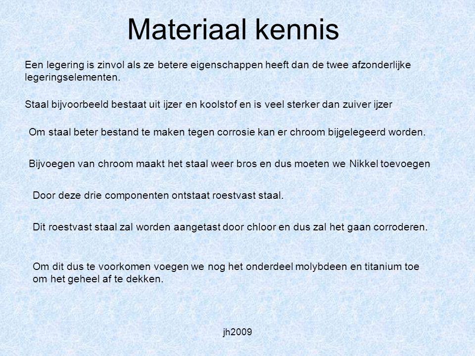 jh2009 Materiaal kennis Een legering is zinvol als ze betere eigenschappen heeft dan de twee afzonderlijke legeringselementen. Om staal beter bestand