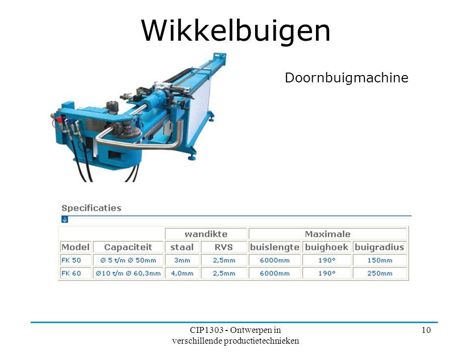 CIP1303 - Ontwerpen in verschillende productietechnieken 10 Wikkelbuigen Doornbuigmachine