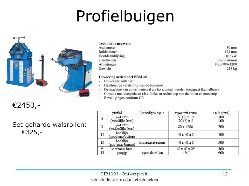 CIP1303 - Ontwerpen in verschillende productietechnieken 12 Profielbuigen €2450,- Set geharde walsrollen: €325,-