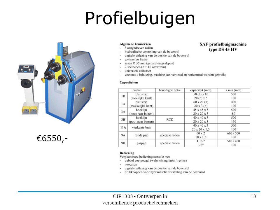 CIP1303 - Ontwerpen in verschillende productietechnieken 13 Profielbuigen €6550,-