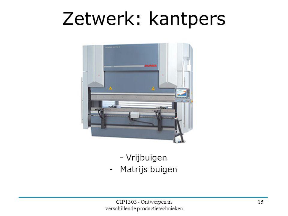 CIP1303 - Ontwerpen in verschillende productietechnieken 15 Zetwerk: kantpers - Vrijbuigen -Matrijs buigen