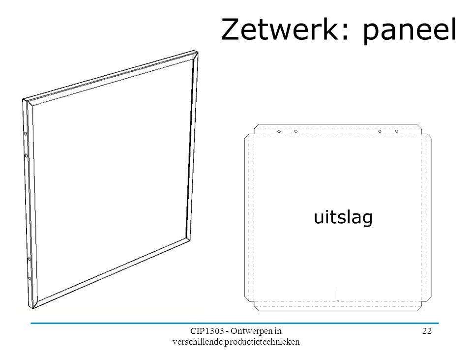 CIP1303 - Ontwerpen in verschillende productietechnieken 22 Zetwerk: paneel uitslag