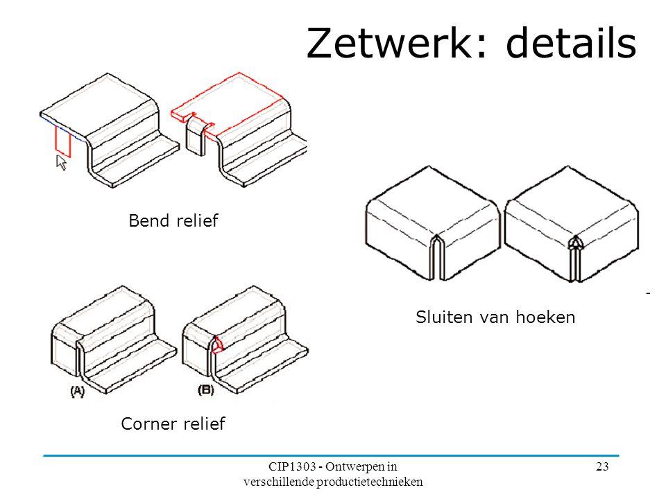 CIP1303 - Ontwerpen in verschillende productietechnieken 23 Bend relief Corner relief Sluiten van hoeken Zetwerk: details