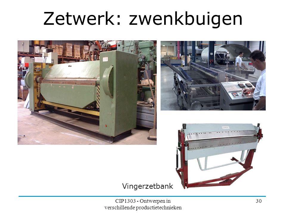CIP1303 - Ontwerpen in verschillende productietechnieken 30 Zetwerk: zwenkbuigen Vingerzetbank