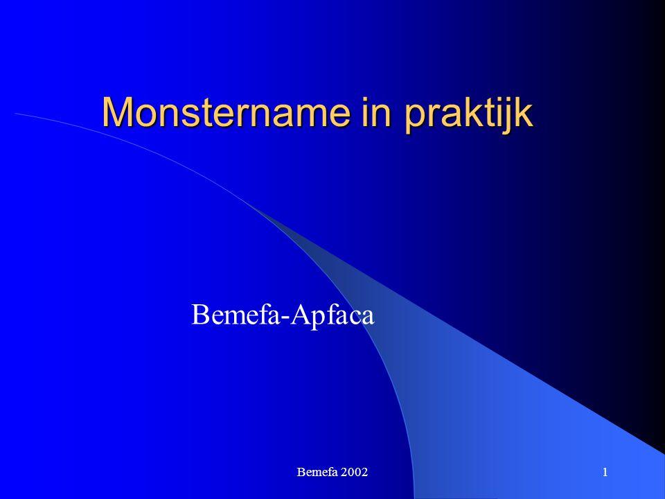 Bemefa 20021 Monstername in praktijk Bemefa-Apfaca
