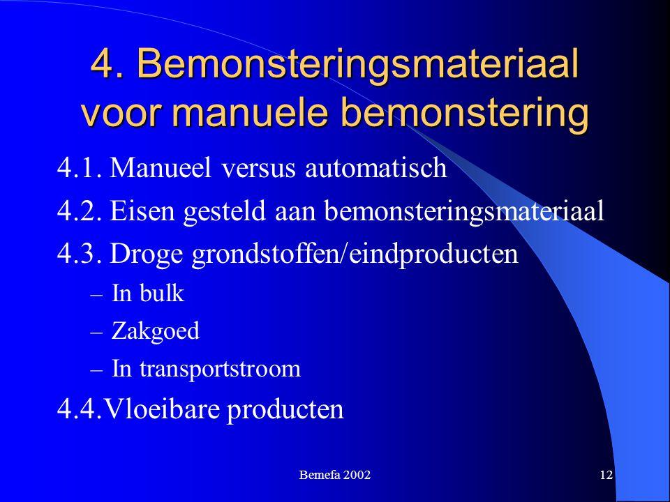 Bemefa 200212 4. Bemonsteringsmateriaal voor manuele bemonstering 4.1. Manueel versus automatisch 4.2. Eisen gesteld aan bemonsteringsmateriaal 4.3. D