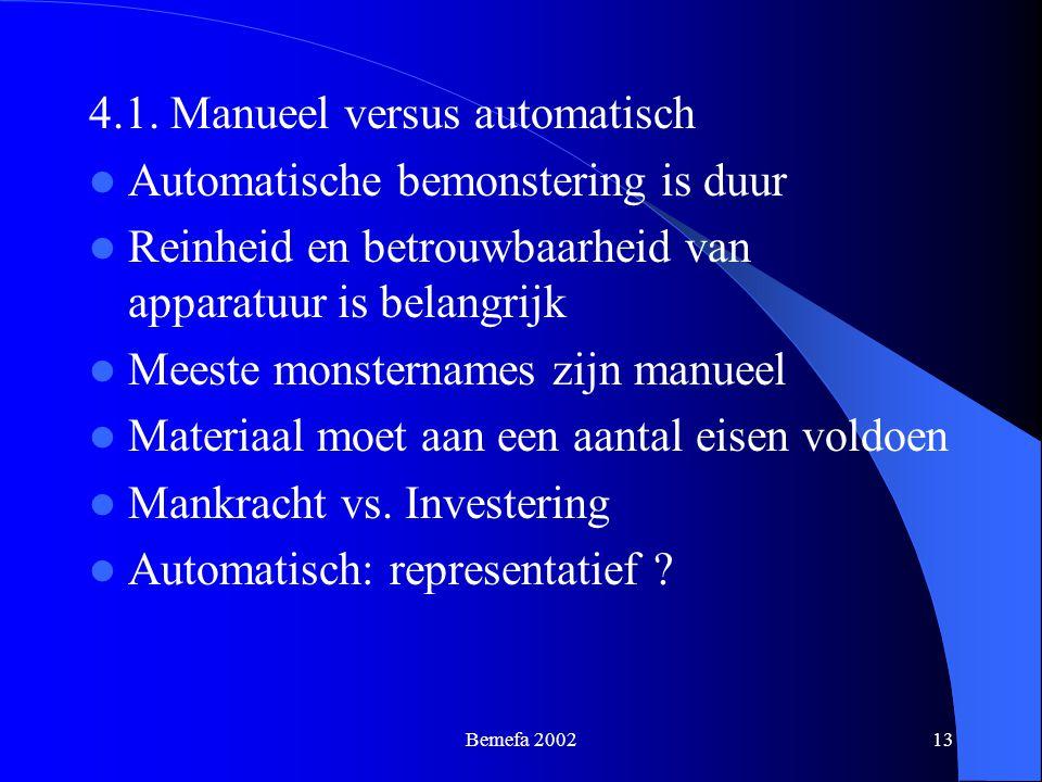 Bemefa 200213 4.1. Manueel versus automatisch Automatische bemonstering is duur Reinheid en betrouwbaarheid van apparatuur is belangrijk Meeste monste