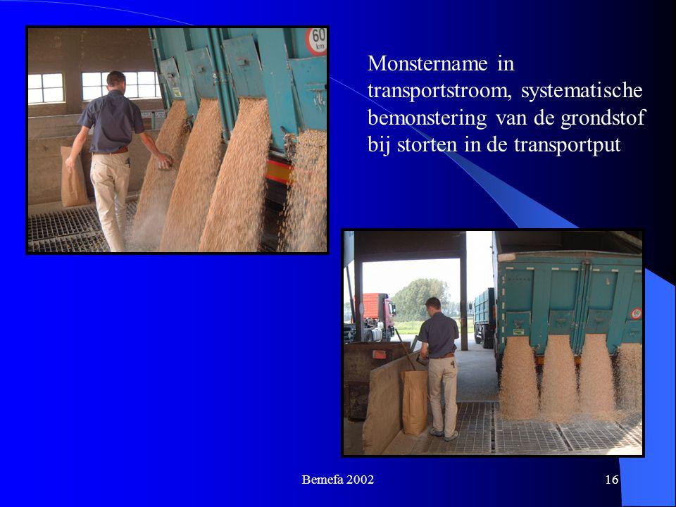 Bemefa 200216 Monstername in transportstroom, systematische bemonstering van de grondstof bij storten in de transportput