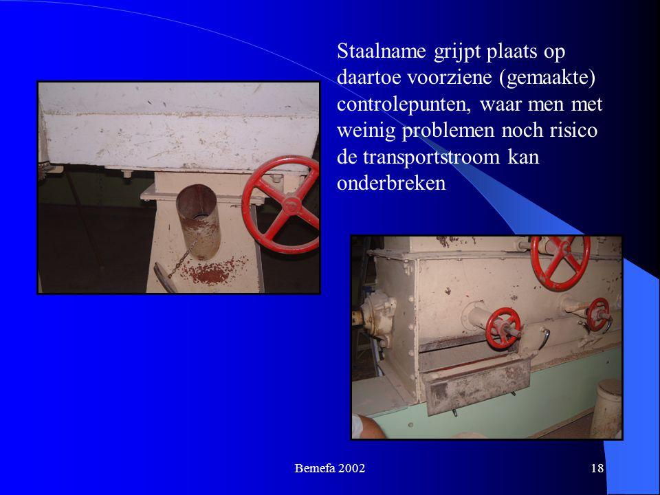 Bemefa 200218 Staalname grijpt plaats op daartoe voorziene (gemaakte) controlepunten, waar men met weinig problemen noch risico de transportstroom kan