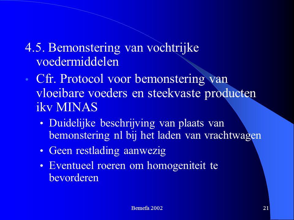 Bemefa 200221 4.5. Bemonstering van vochtrijke voedermiddelen Cfr. Protocol voor bemonstering van vloeibare voeders en steekvaste producten ikv MINAS