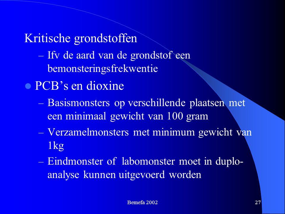Bemefa 200227 Kritische grondstoffen – Ifv de aard van de grondstof een bemonsteringsfrekwentie PCB's en dioxine – Basismonsters op verschillende plaa
