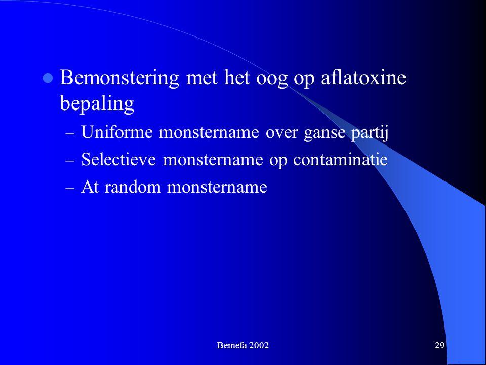 Bemefa 200229 Bemonstering met het oog op aflatoxine bepaling – Uniforme monstername over ganse partij – Selectieve monstername op contaminatie – At r