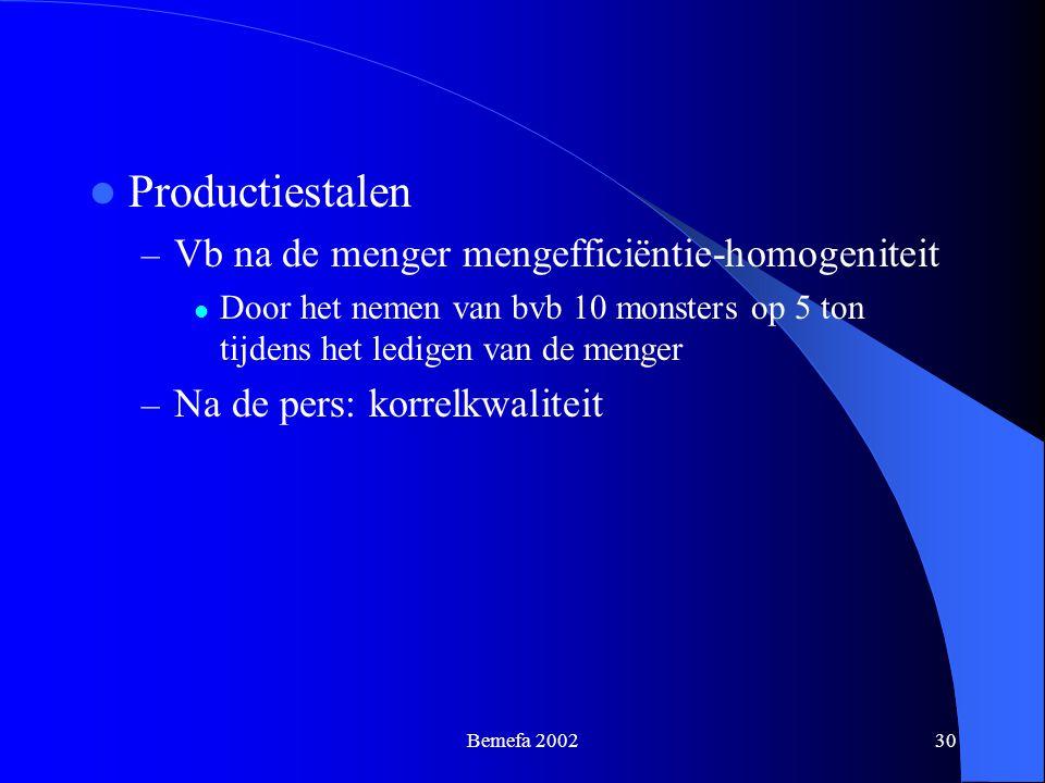Bemefa 200230 Productiestalen – Vb na de menger mengefficiëntie-homogeniteit Door het nemen van bvb 10 monsters op 5 ton tijdens het ledigen van de me