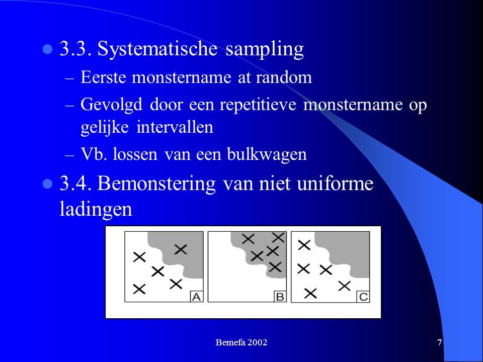Bemefa 20027 3.3. Systematische sampling – Eerste monstername at random – Gevolgd door een repetitieve monstername op gelijke intervallen – Vb. lossen