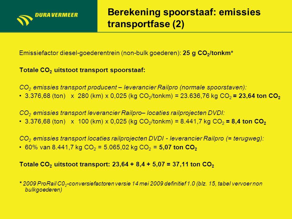 Berekening spoorstaaf: emissies transportfase (2) Emissiefactor diesel-goederentrein (non-bulk goederen): 25 g CO 2 /tonkm* Totale CO 2 uitstoot trans