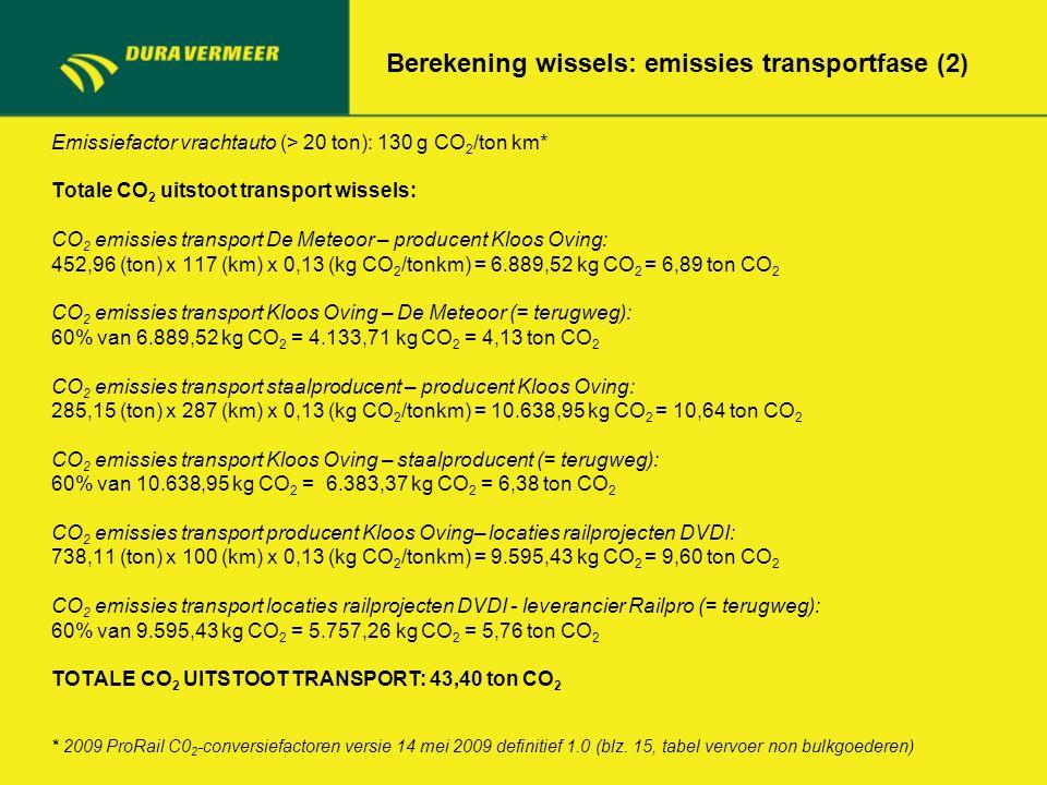 Berekening wissels: emissies transportfase (2) Emissiefactor vrachtauto (> 20 ton): 130 g CO 2 /ton km* Totale CO 2 uitstoot transport wissels: CO 2 e