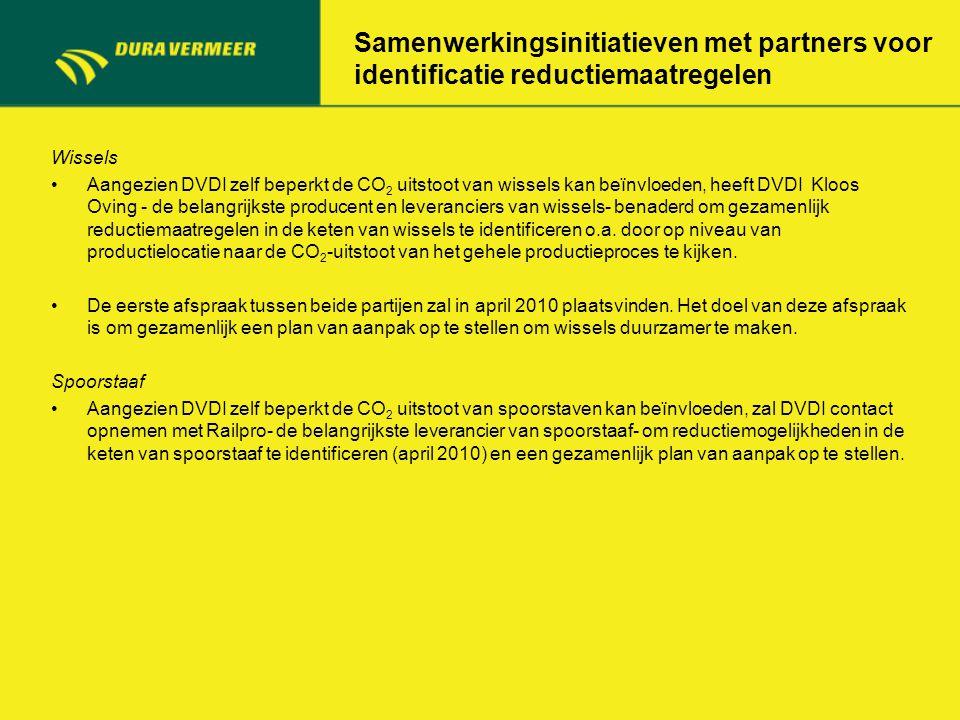 Samenwerkingsinitiatieven met partners voor identificatie reductiemaatregelen Wissels Aangezien DVDI zelf beperkt de CO 2 uitstoot van wissels kan beï