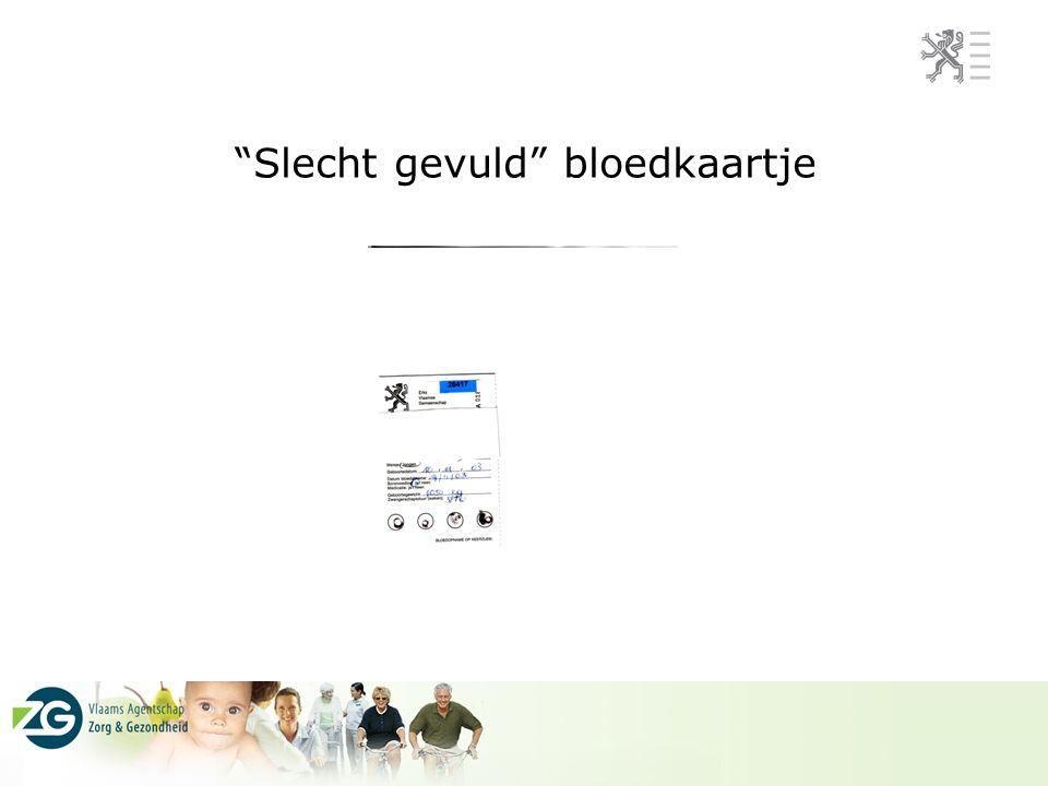 """""""Slecht gevuld"""" bloedkaartje"""